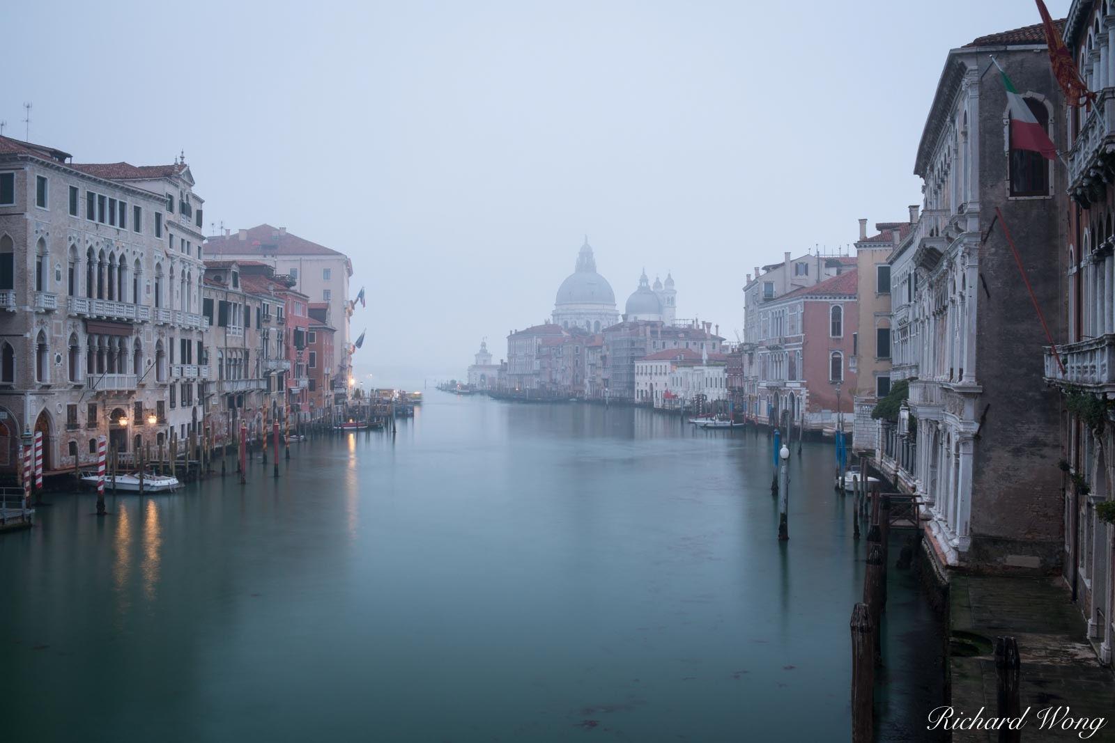 Foggy Morning on Grand Canal From Accademia Bridge, Venice, Italy, photo, photo
