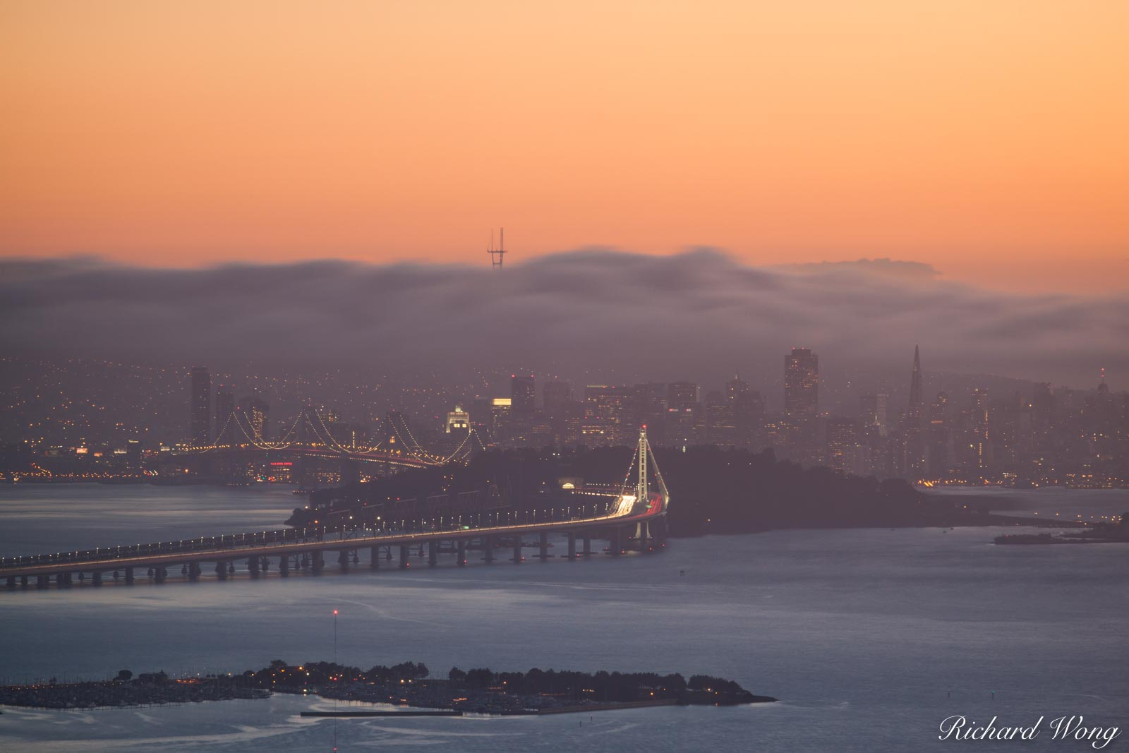 San Francisco in Fog From Grizzly Peak, Berkeley Hills, California, photo, photo