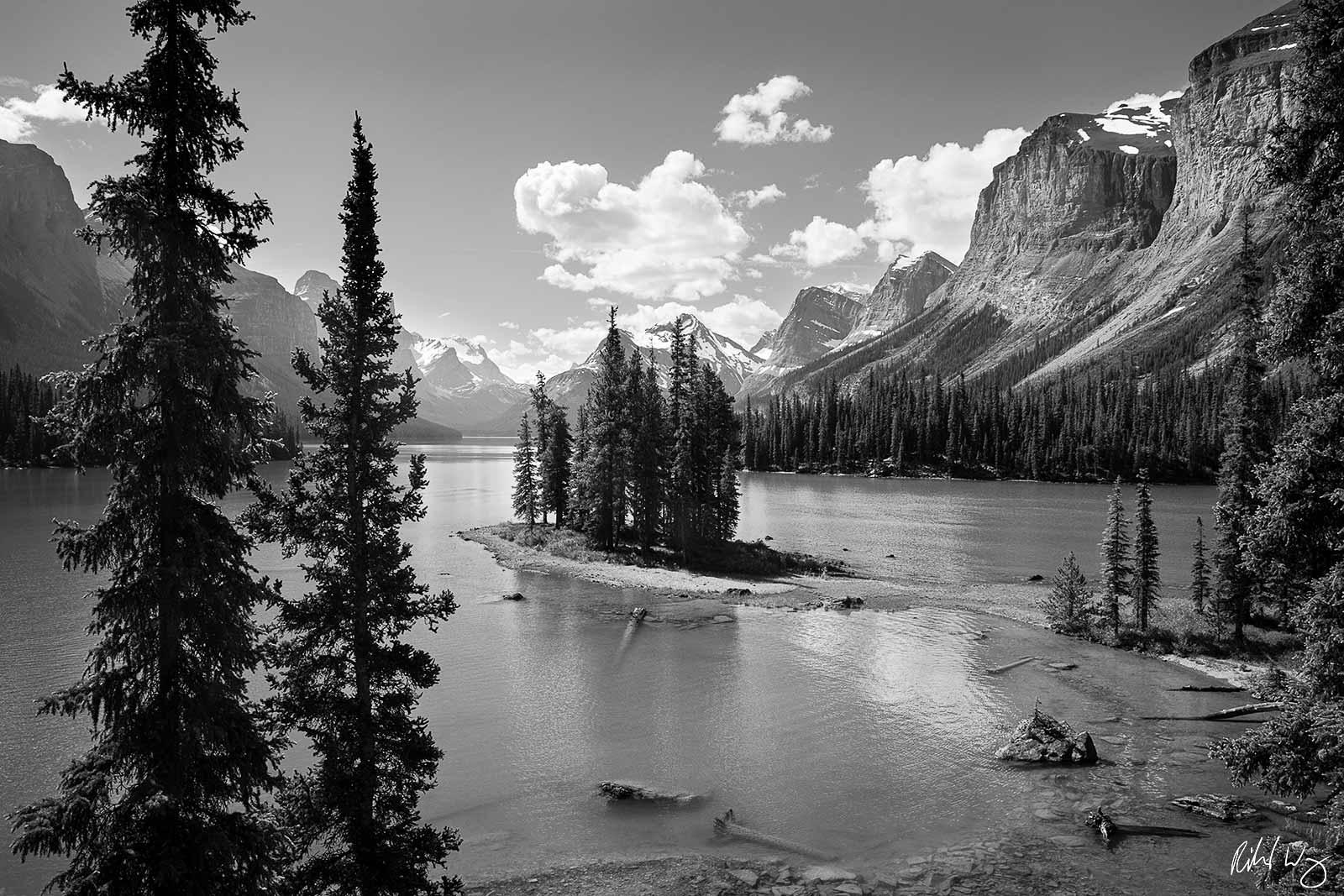 Black and White Photo: Spirit Island Overlook at Maligne Lake, Jasper National Park, Alberta, Canada