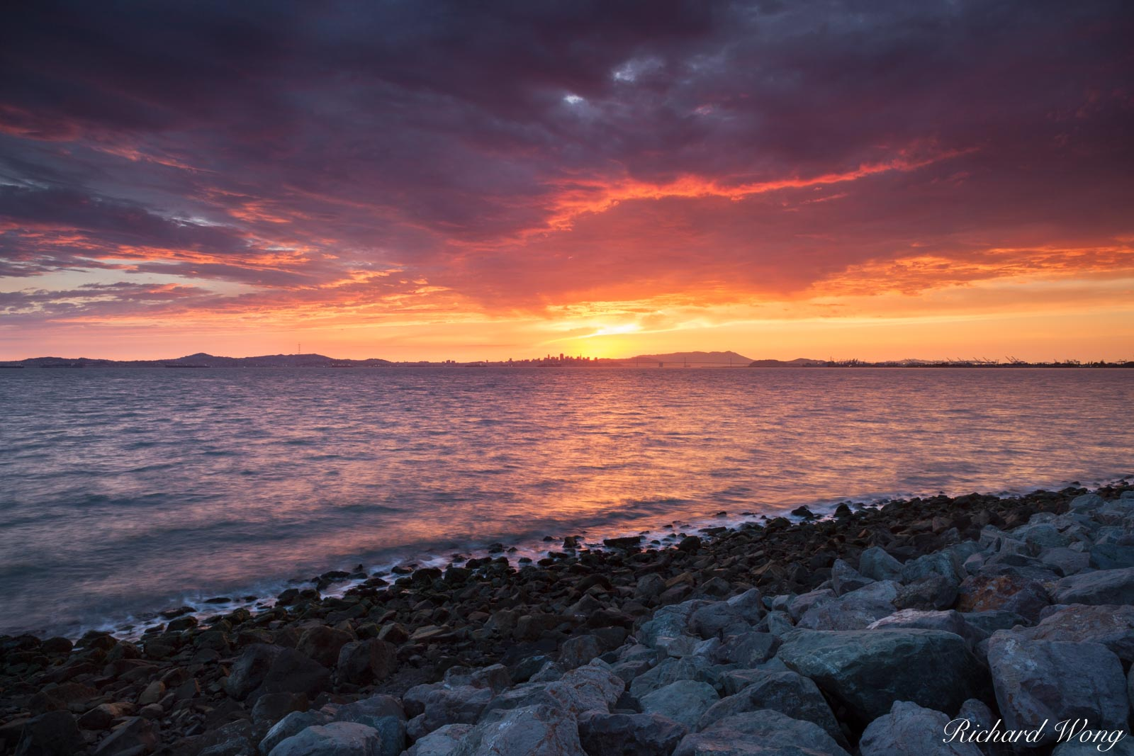 Sunset Over San Francisco Bay, Alameda, California, photo, photo