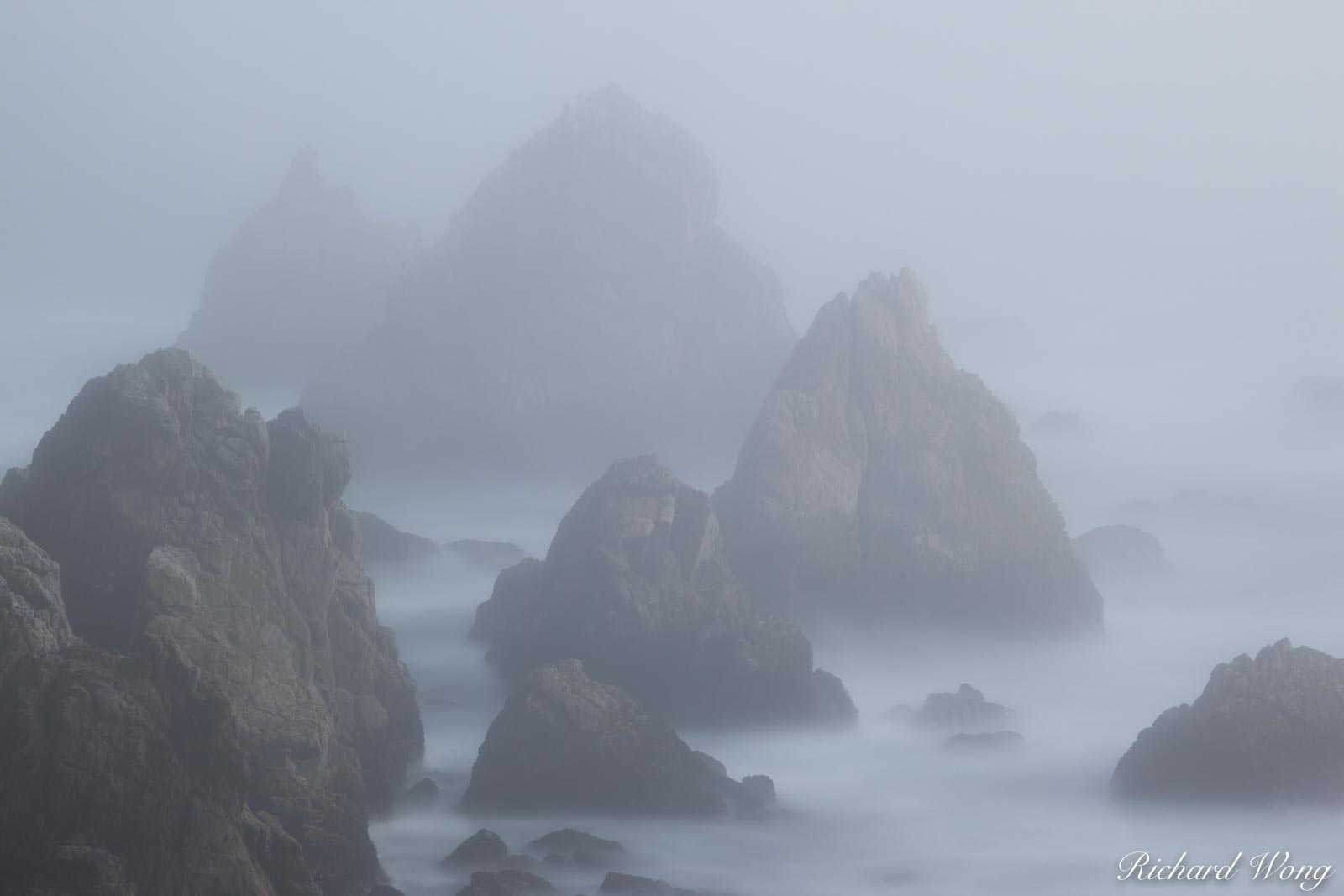Bodega Head Seastacks in Fog, Sonoma Coast, California, photo, photo
