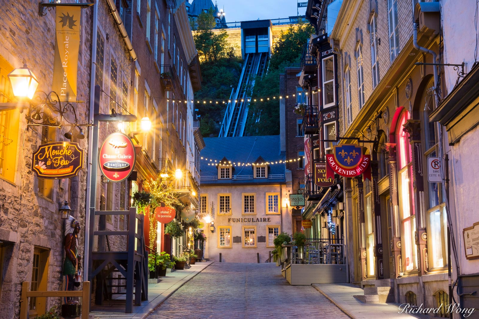 Rue Sous le Fort and Le Funiculaire at Dawn, Lower Town Quebec City (Basse-Ville), QC, Canada