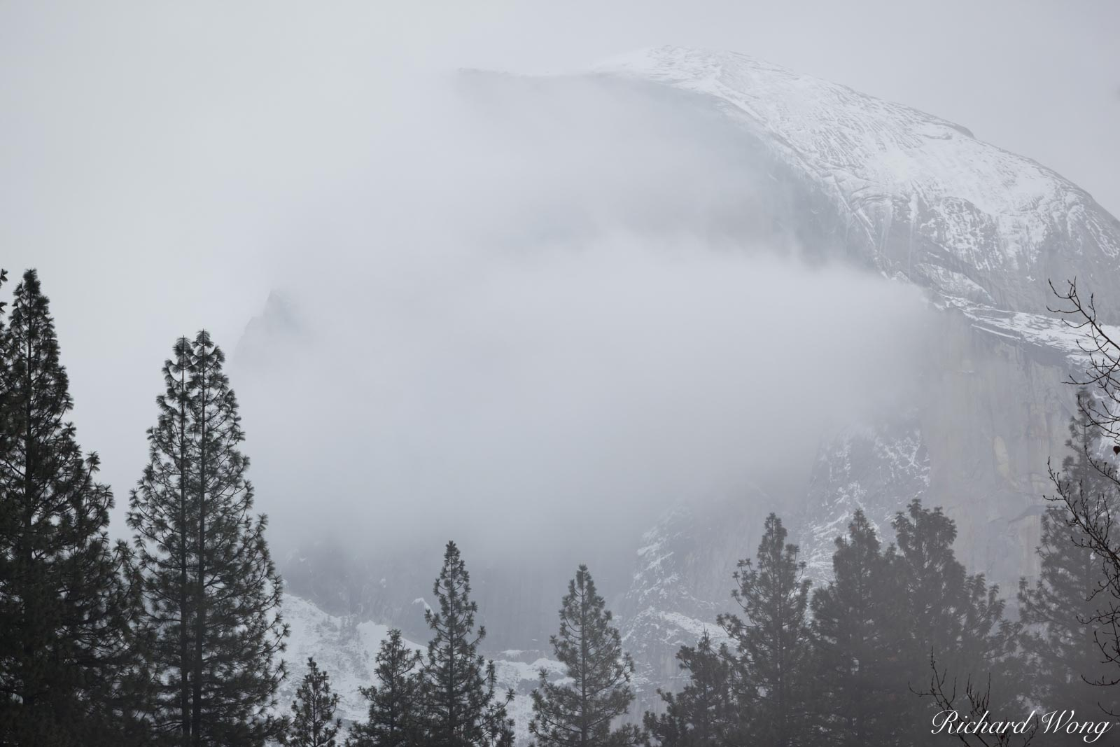 Half Dome and Late Fall Snowstorm, Yosemite National Park, California, photo, photo
