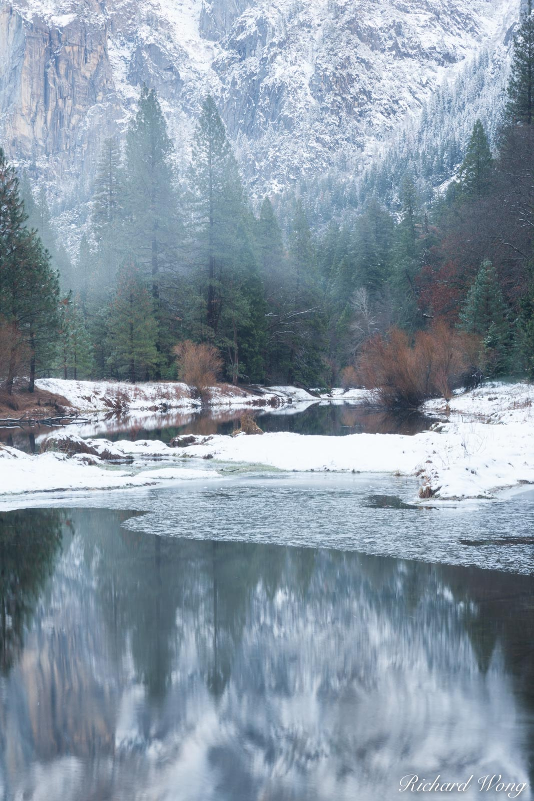 Merced River Foggy Afternoon in Late Fall, Yosemite National Park, California, photo, photo