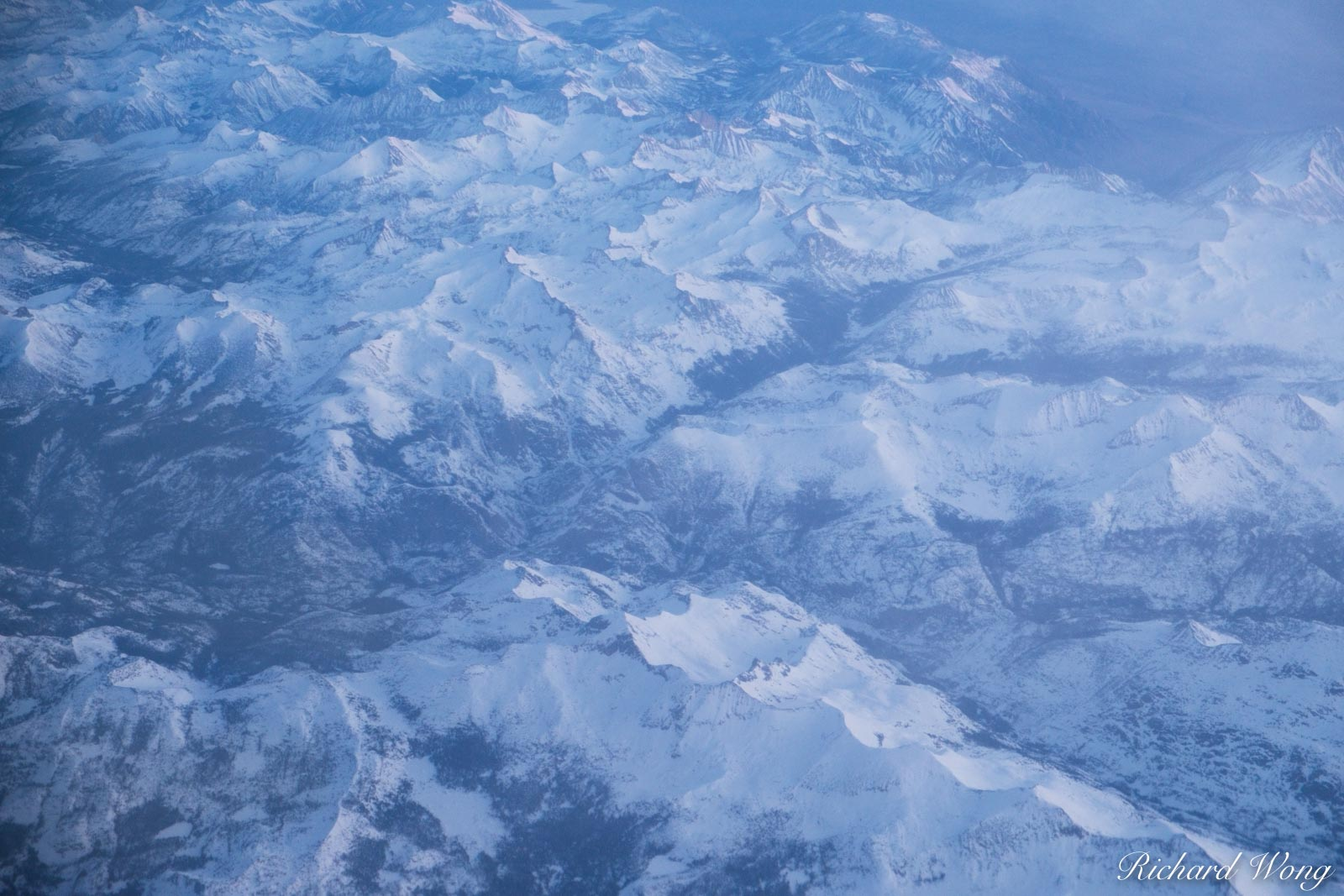 Aerial Photo of Sierra Nevada Mountains in Winter, California, photo, photo