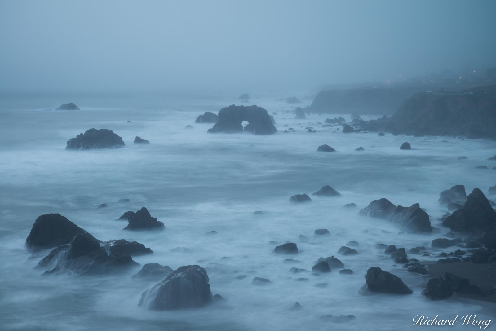 Foggy Evening at Arched Rock Beach, Sonoma Coast SB, California, photo, photo