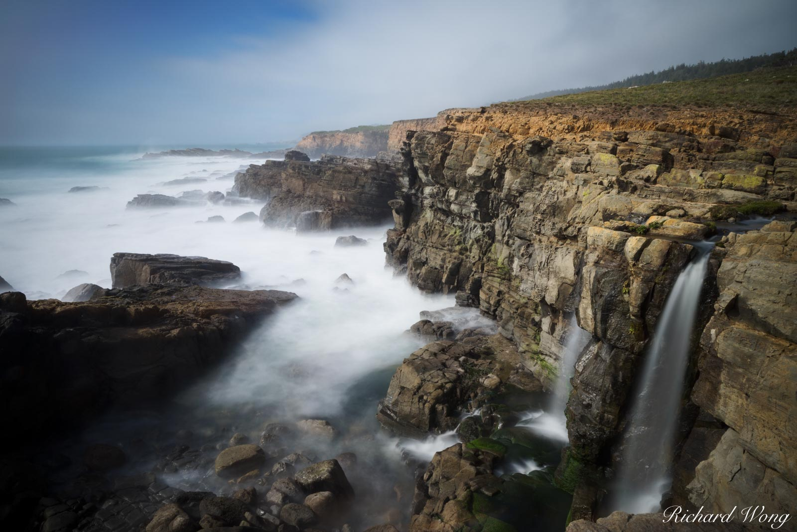 Double Waterfall, Sonoma Coast, California, photo, photo