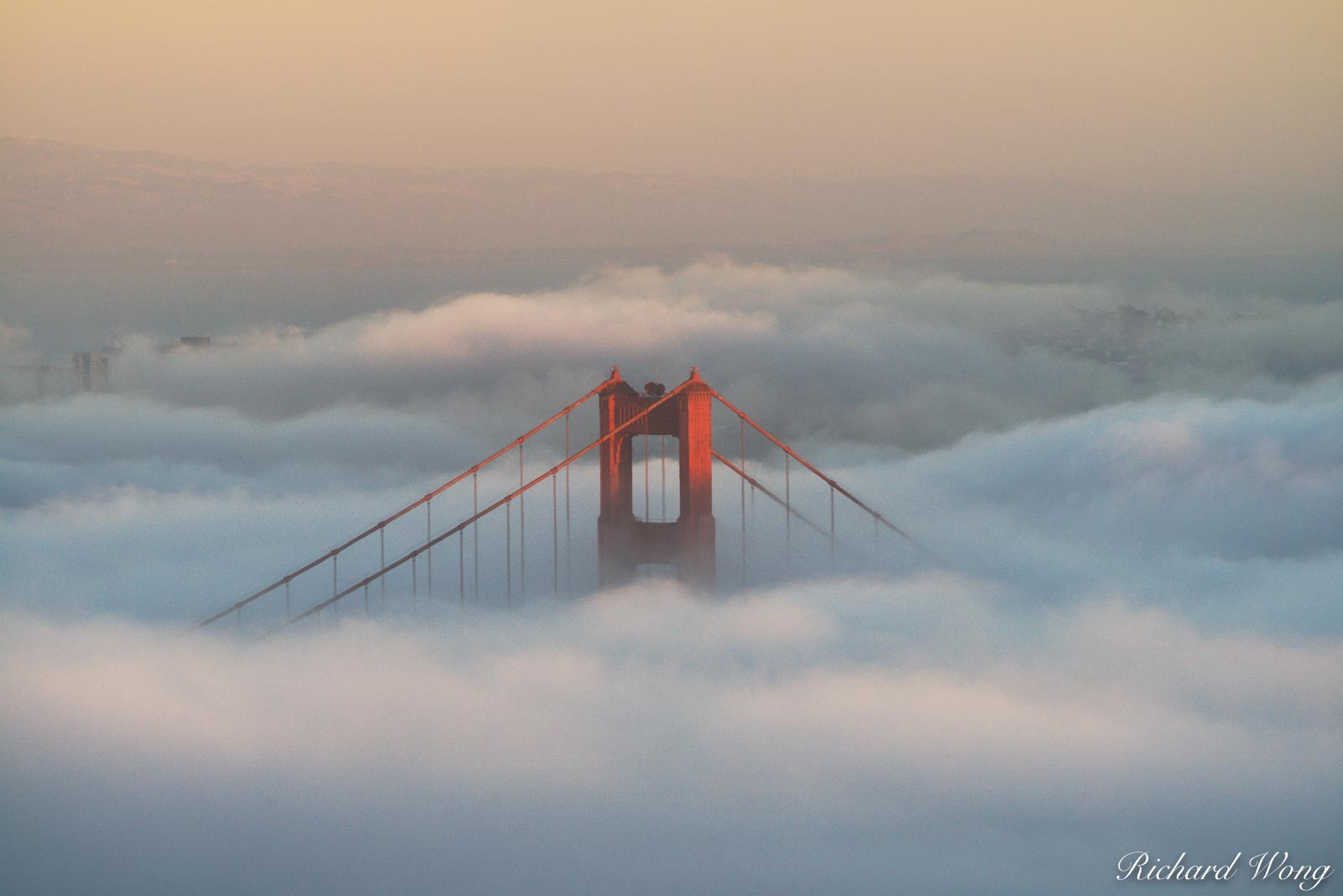Golden Gate Bridge Foggy Sunset From Hawk Hill, Marin Headlands, California, photo, photo