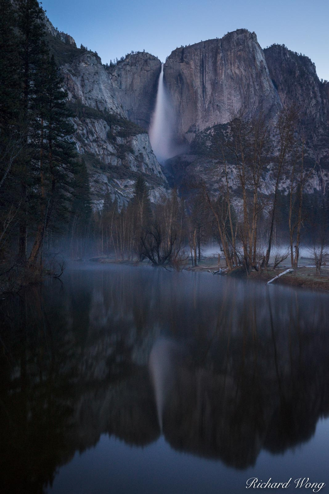 Yosemite Falls Spring Morning Reflection in Merced River, Yosemite National Park, California, photo, photo