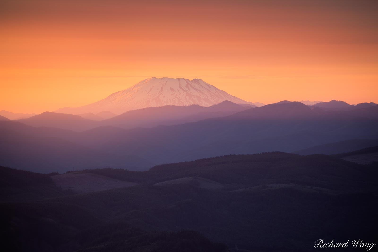 Mount St. Helens at Sunset from Larch Mountain, Mount Hood National Forest, Oregon, photo, photo