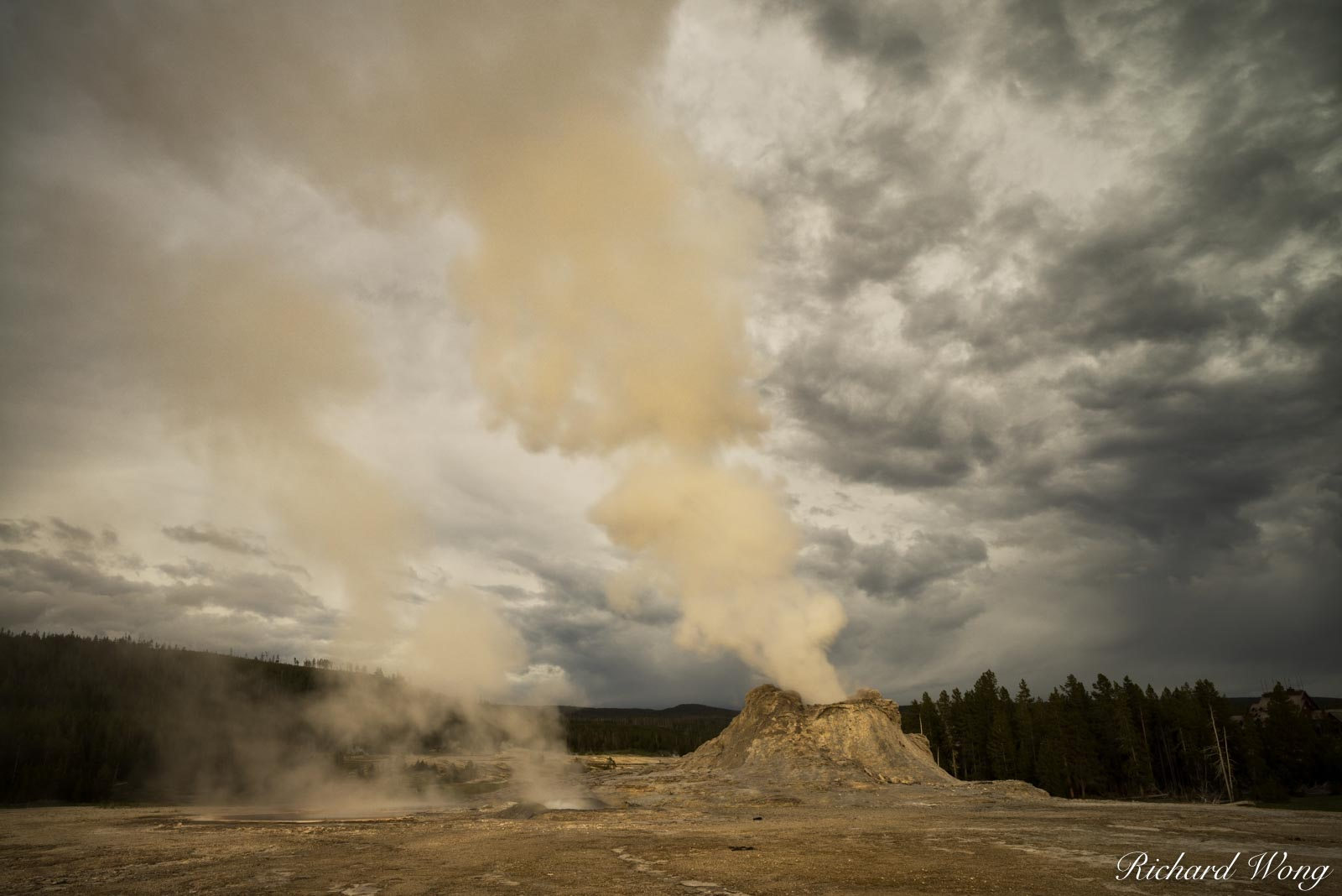 Castle Geyser at Sunset, Yellowstone National Park, Wyoming, photo, photo