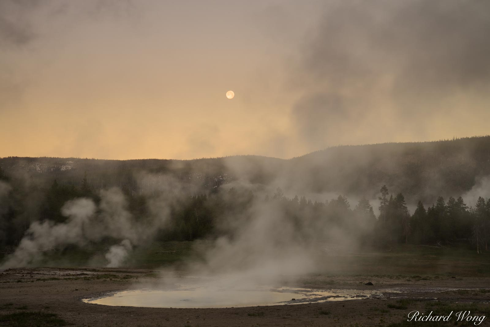 Upper Geyser Basin Sunrise & Full Moon, Yellowstone National Park, Wyoming, photo, photo