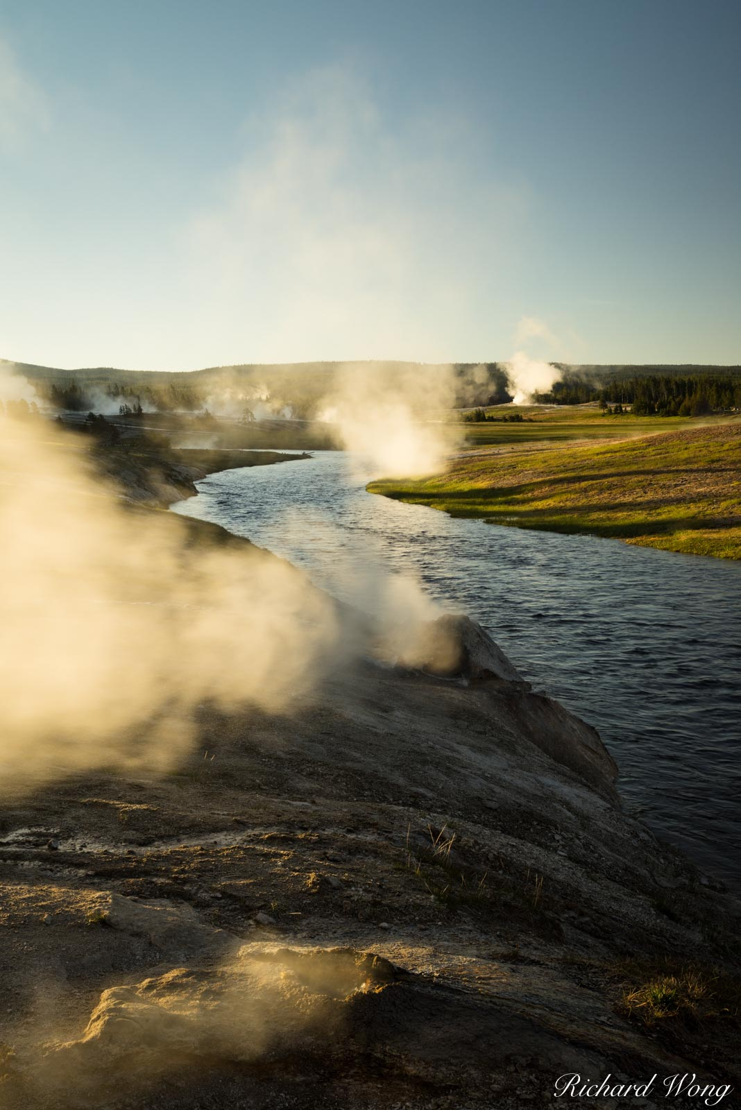 Firehole River at Sunrise, Yellowstone National Park, Wyoming, photo, photo