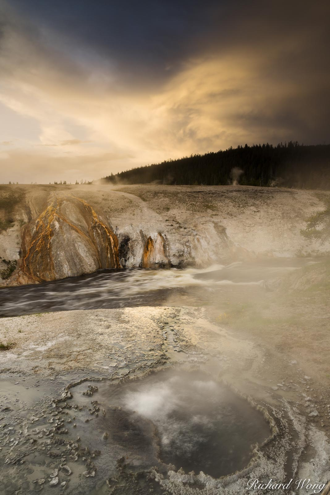 Chinese Spring & Firehole River at Sunset, Yellowstone National Park, Wyoming, photo, photo