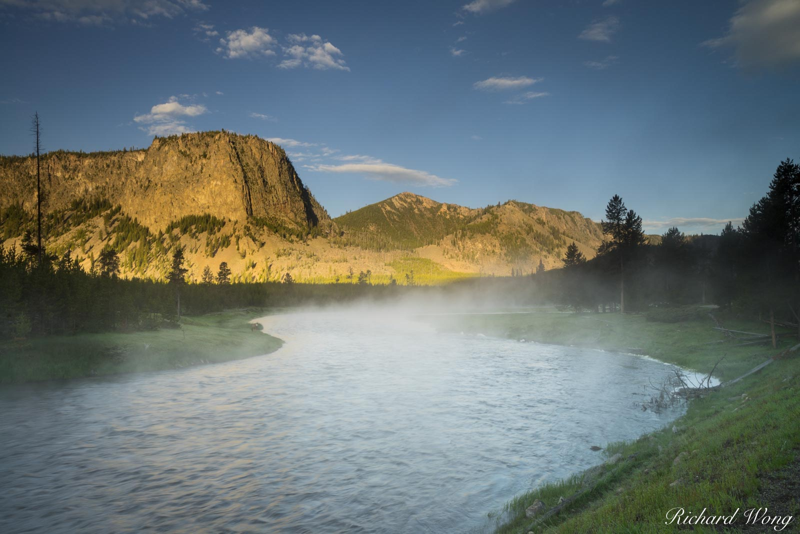Madison River at Sunrise, Yellowstone National Park, Wyoming, photo, photo