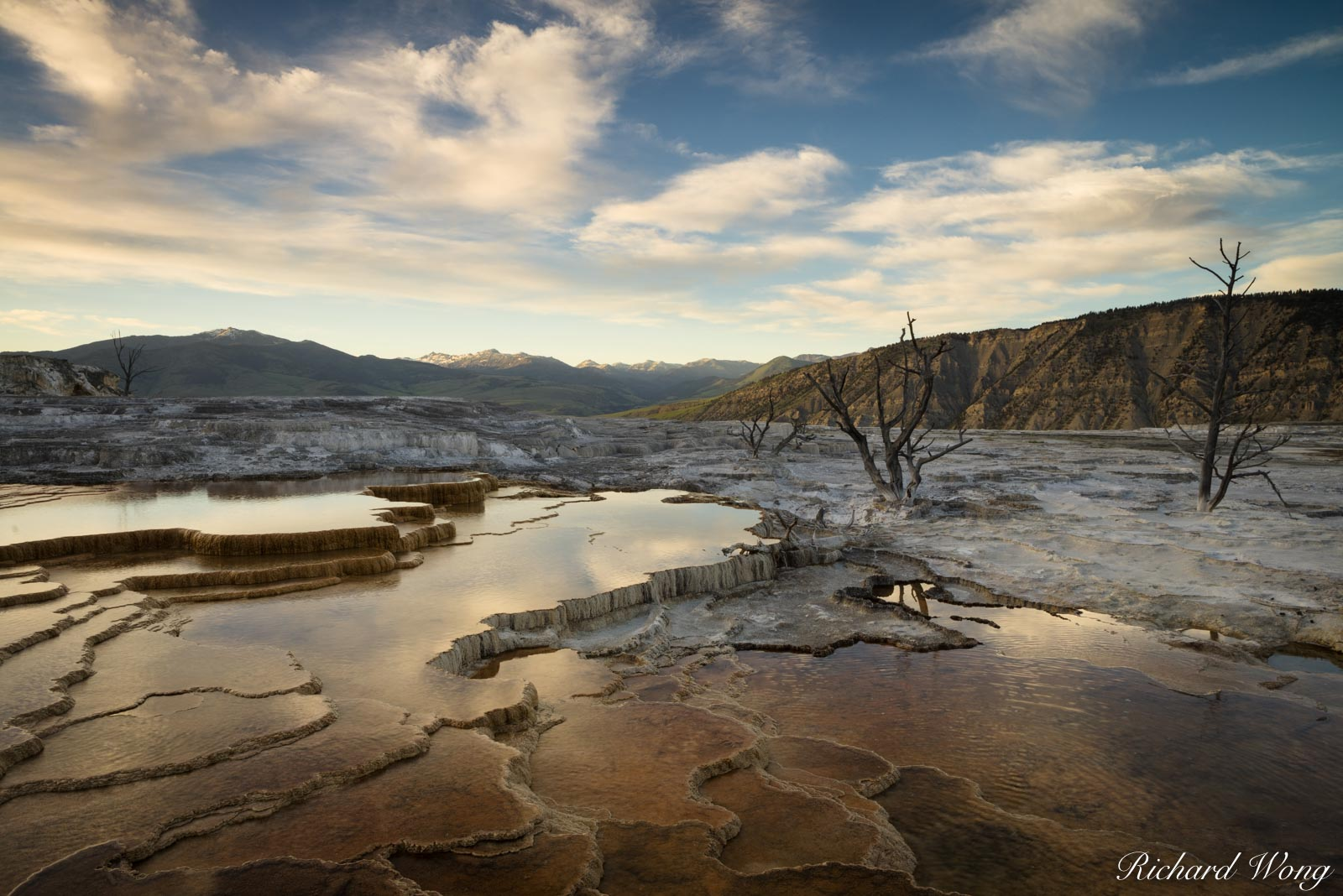 Mammoth Hot Springs at Sunset, Yellowstone National Park, Wyoming, photo, photo