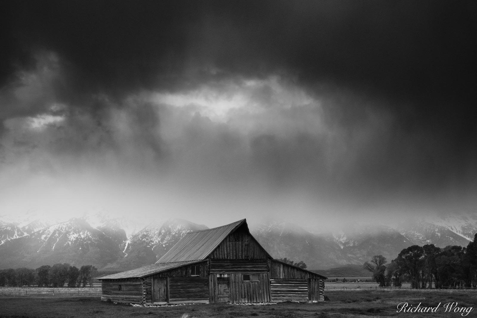 Mormon Row Barn Stormy Sunrise Black & White, Grand Teton National Park, Wyoming, photo, photo