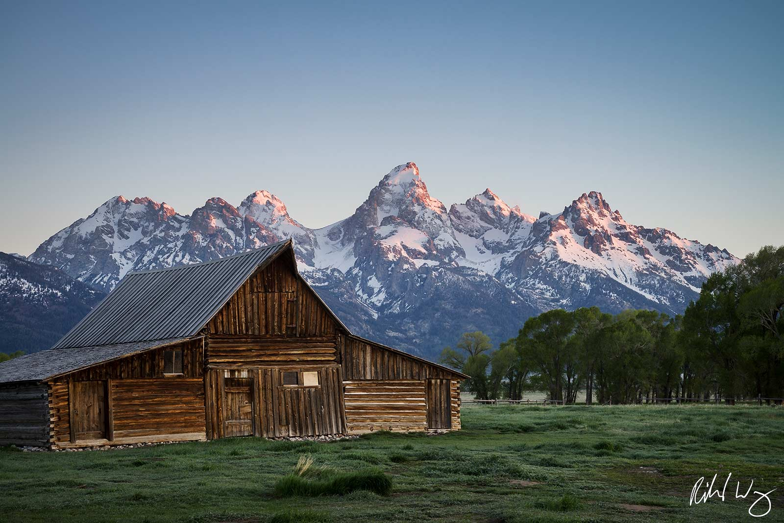 Moulton Barn at Sunrise, Grand Teton National Park, Wyoming T.A. Moulton Barn is all that remains of the homestead built by Thomas...