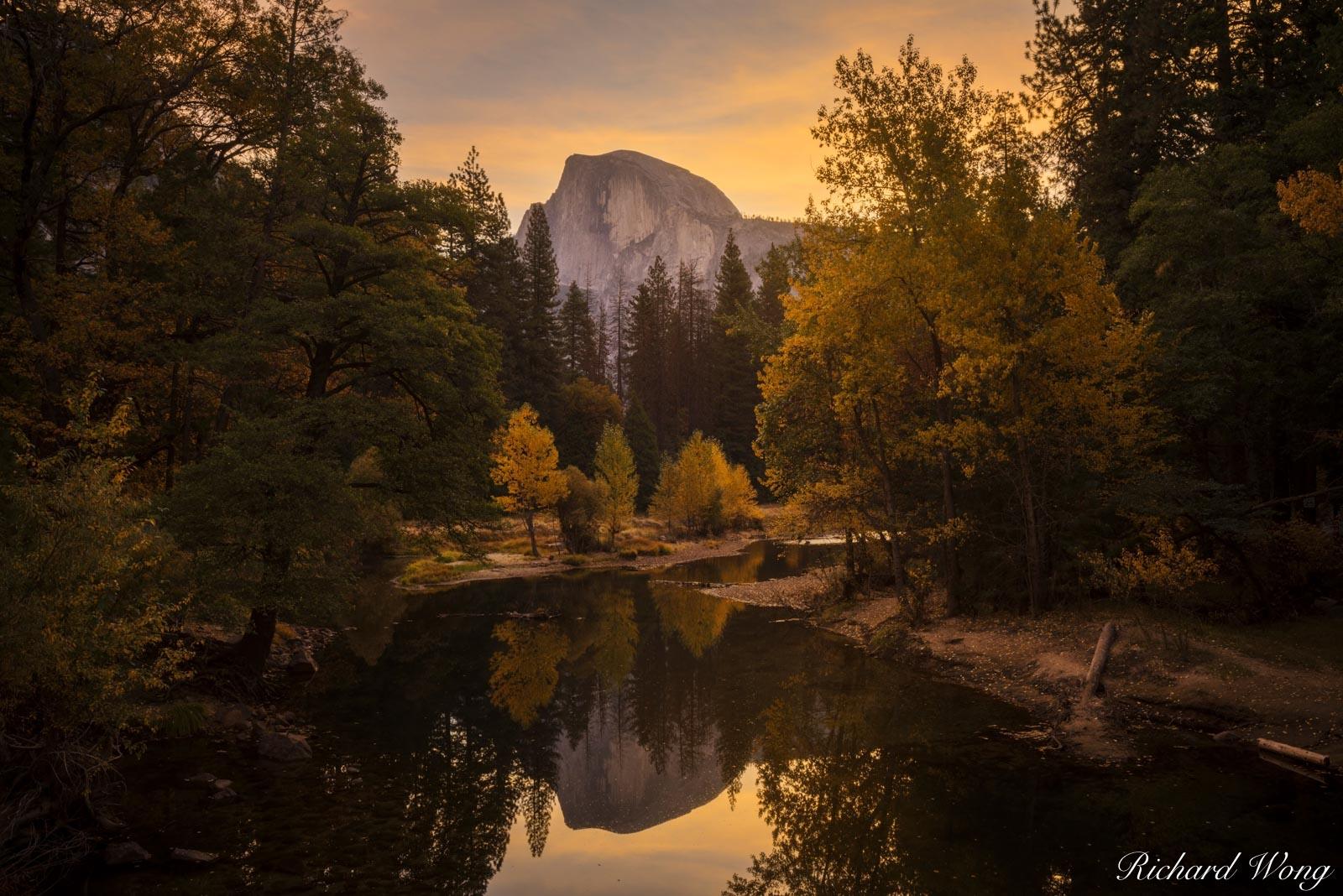 California, alpenglow, autumn, fall colors, fall season, foliage, forest, granite, half dome, landscape, merced river, nature, north america, outdoors, outside, reflection, scenery, scenic, seasons, s, photo