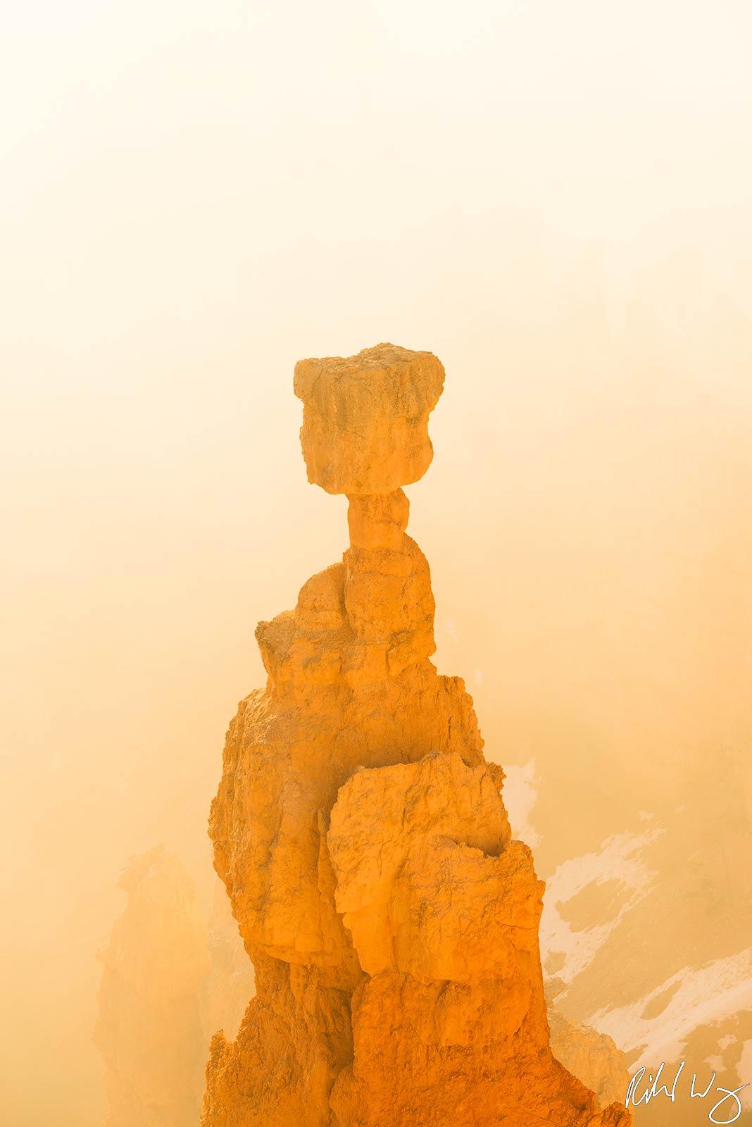 Thor's Hammer Rising Through Sunrise Fog, Bryce Canyon National Park, Utah