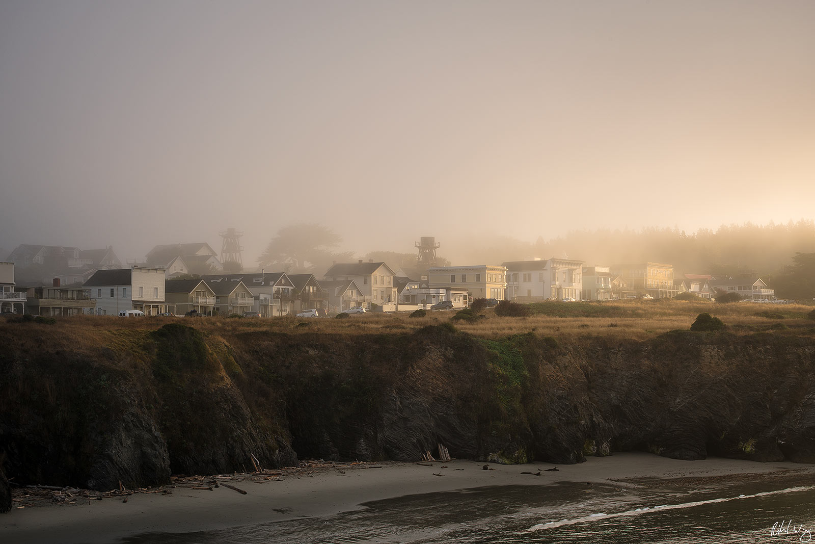Foggy Sunrise, Mendocino, California, Photo, photo