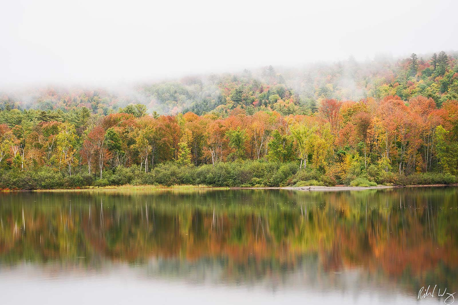 Echo Lake Morning Fog & Fall Color, Charleston, Vermont, Photo, photo
