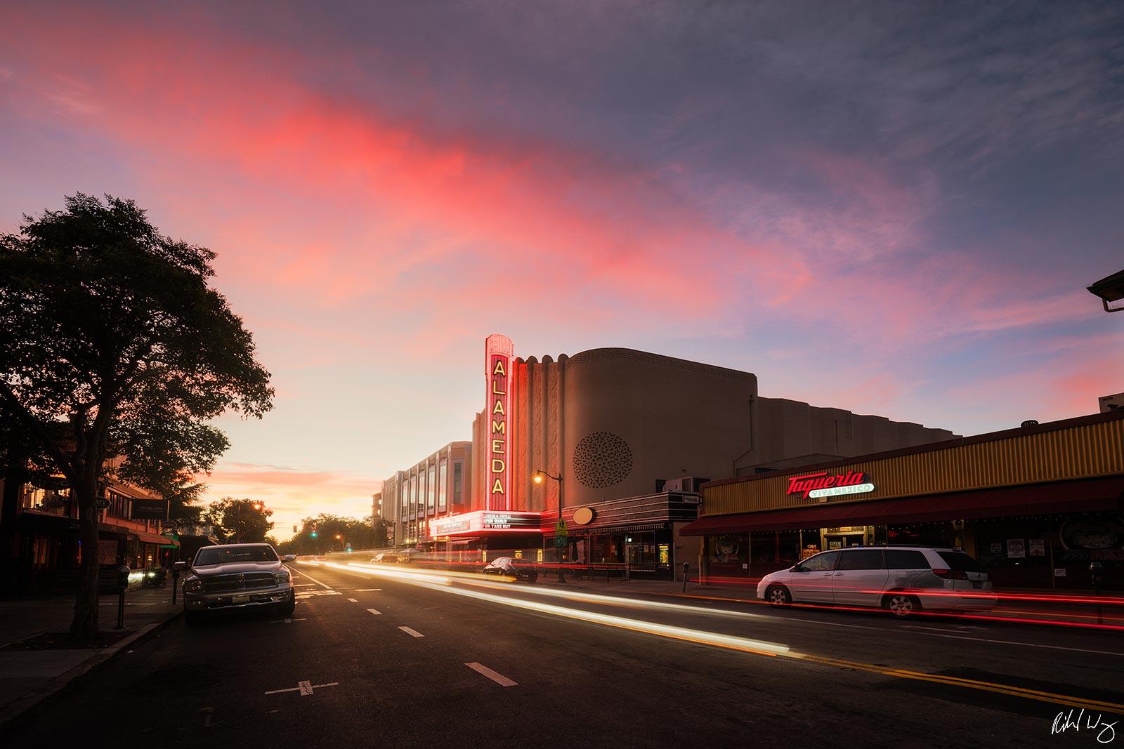 Historic Alameda Theatre at Sunset, Alameda, California