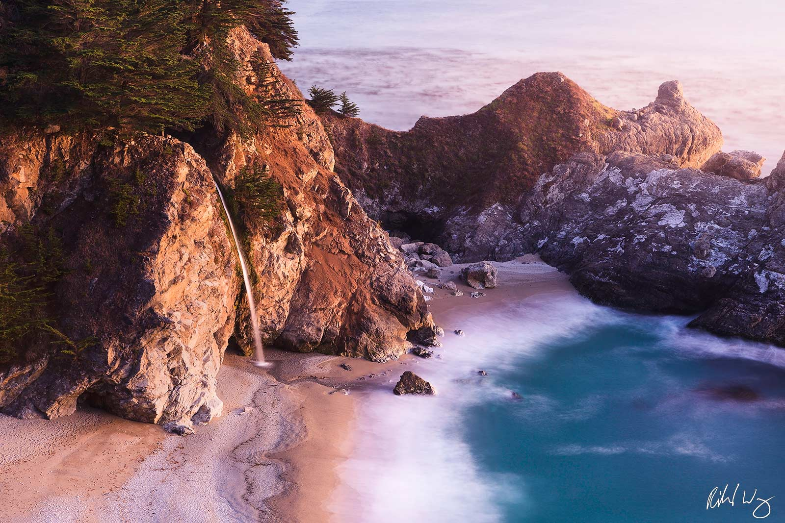 McWay Falls at Dusk, Julia Pfeiffer Burns State Park, California, photo, photo