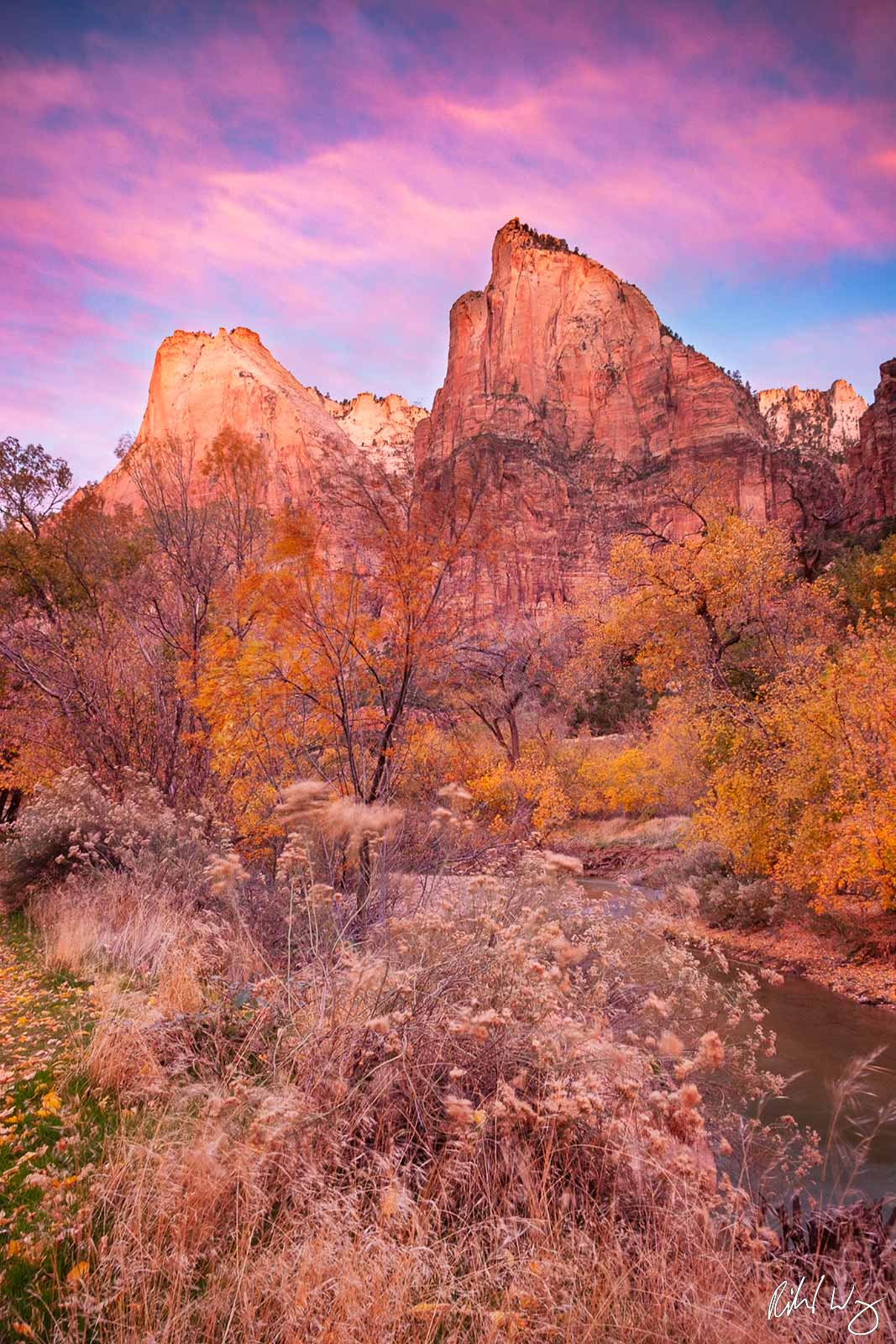 Court of the Patriarchs Sunrise, Zion National Park, Utah, photo, photo