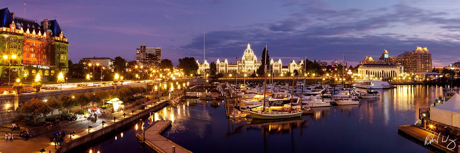 Panoramic of Victoria Inner Harbour, British Columbia, Canada