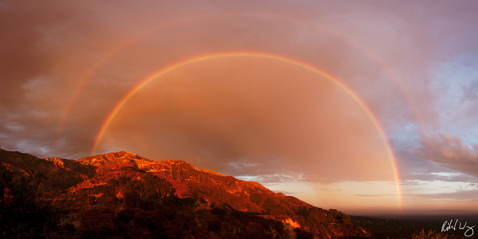 180 Degree Double Rainbow over San Gabriel Mountains Panoramic, Angeles National Forest, California