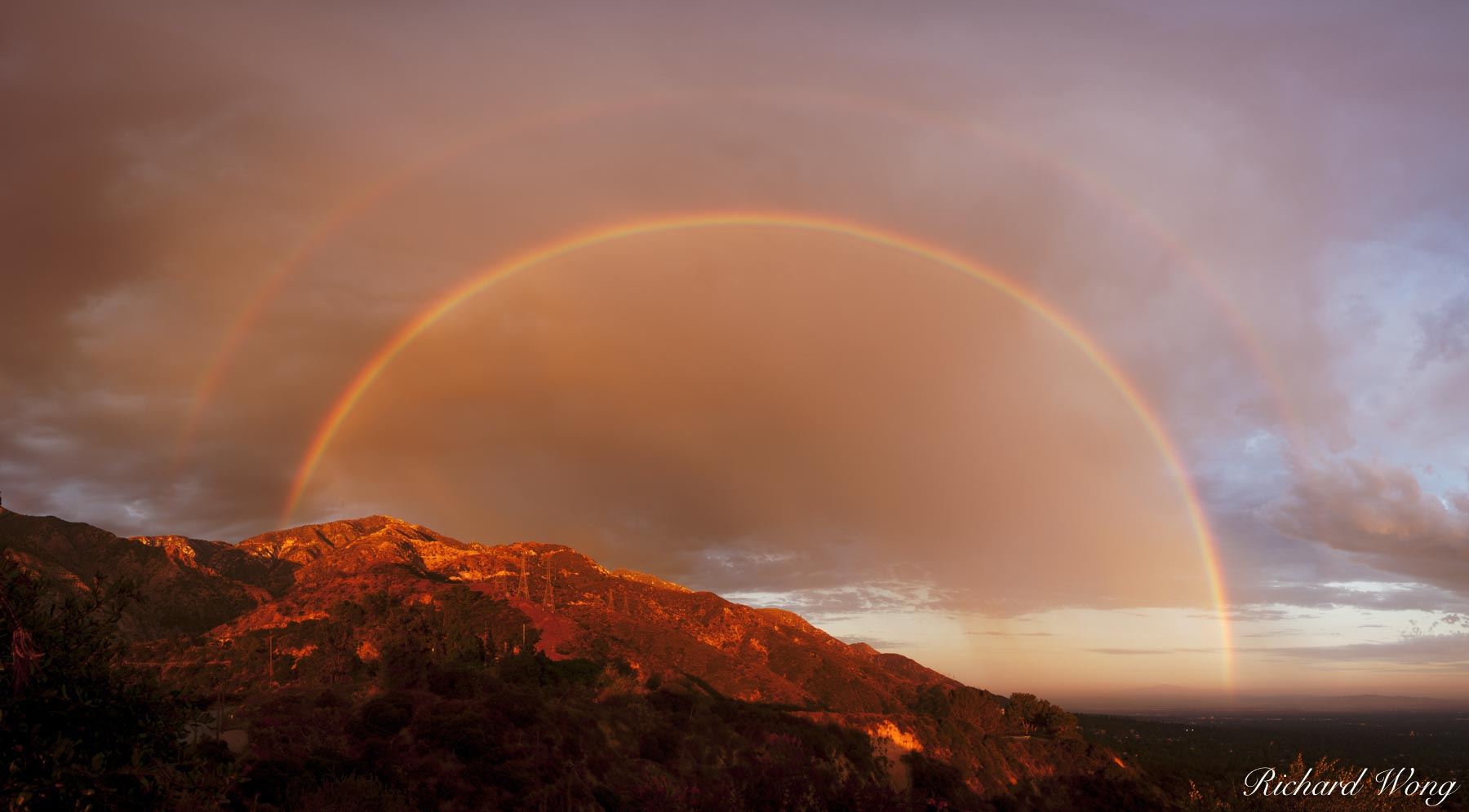180 Degree Double Rainbow, San Gabriel Mountains Panoramic, Angeles National Forest, California, photo, photo