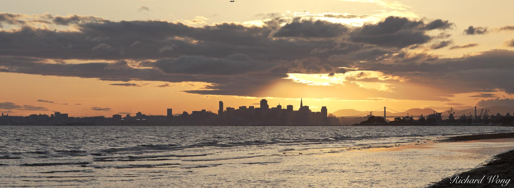 Panoramic Photo of Robert Crown Memorial State Beach Sunset With Downtown San Francisco Skyline in Background, Alameda, California, photo, photo