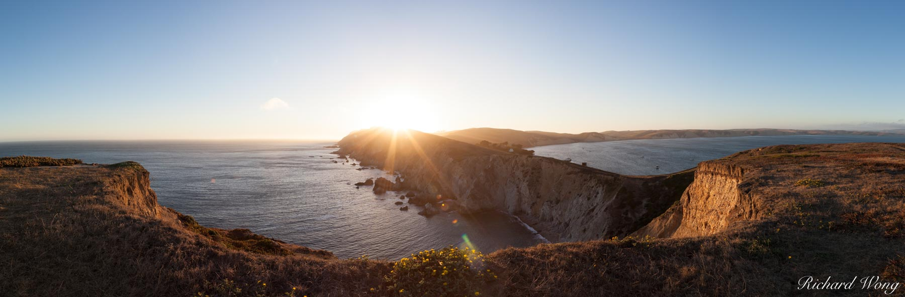 Chimney Rock Panoramic at Sunset, Point Reyes National Seashore, California, photo, photo