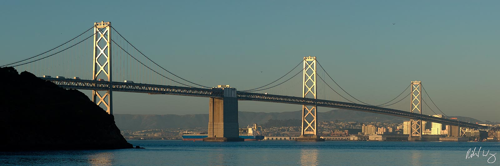 San Francisco-Oakland Bay Bridge Panoramic, Treasure Island, California, Photo, photo