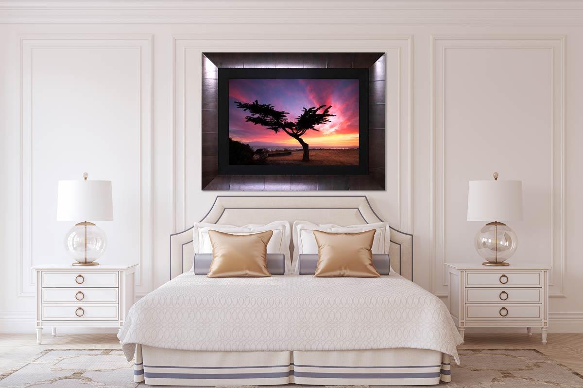 Framed Lumachrome HD Acrylic Face Mount Print, interior design, luxury bedroom artwork, photo