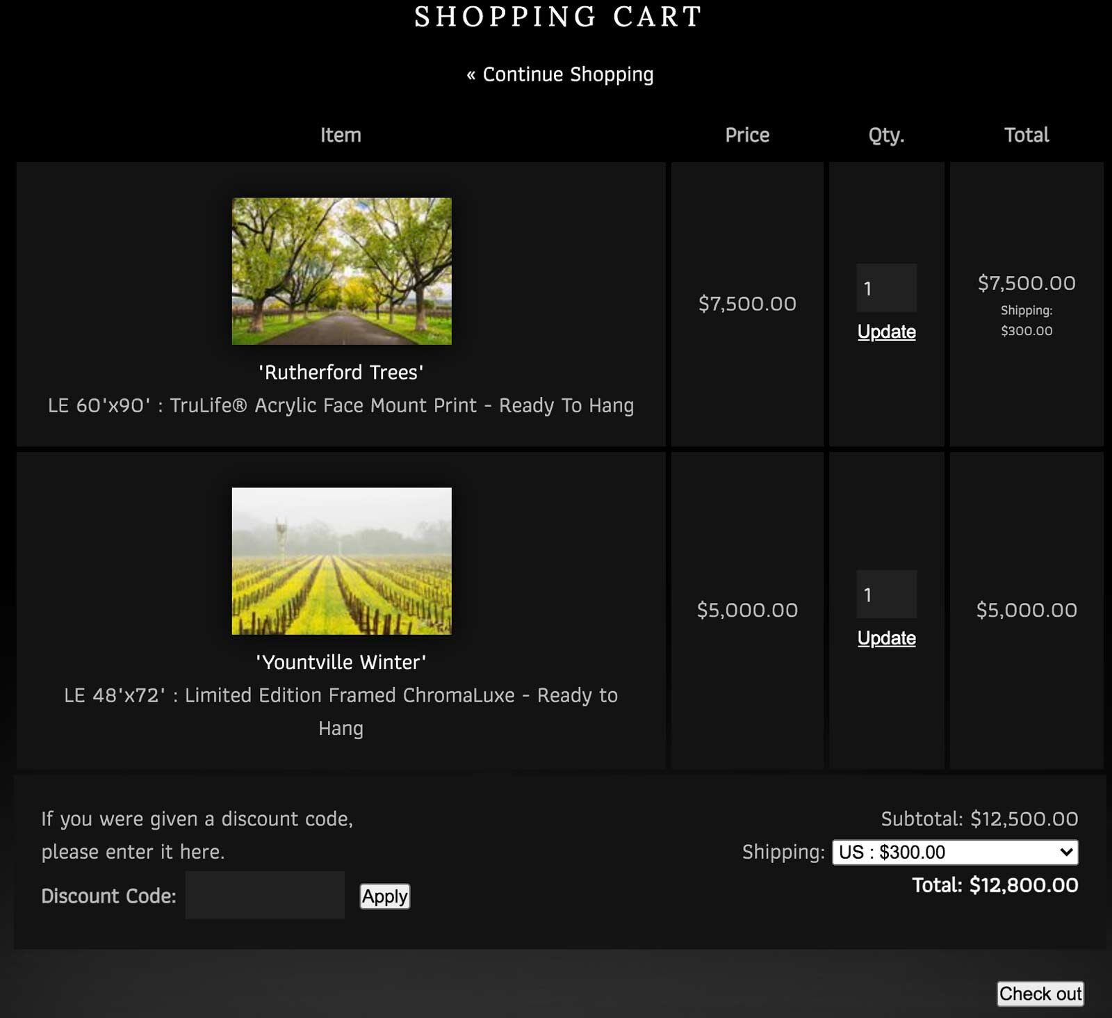 Fine Art Photography Print Shopping Cart